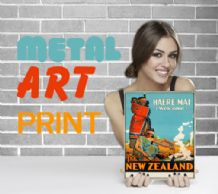 Haere Mai, Welcome to New Zealand - Metal Signs Prints Wall Art Print, - Vintage Travel Metal Poster
